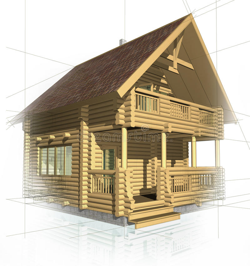 Download Wooden House stock illustration. Illustration of architectural - 17681562