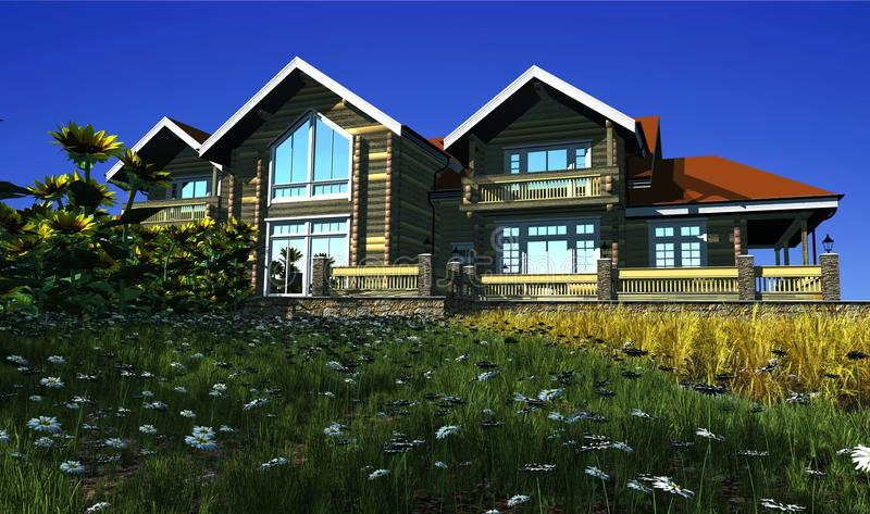 Download The wooden house stock illustration. Image of modern - 25483361