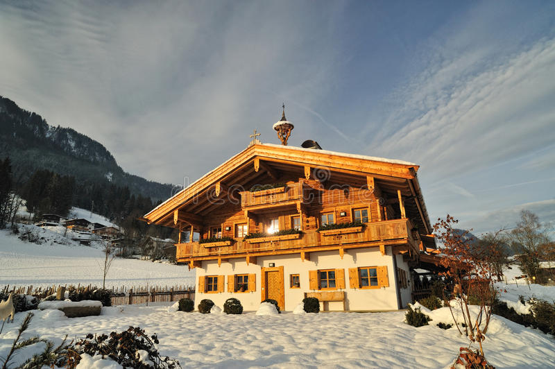 Wooden House In Alpes. Chalet For Tourists Stock Photos