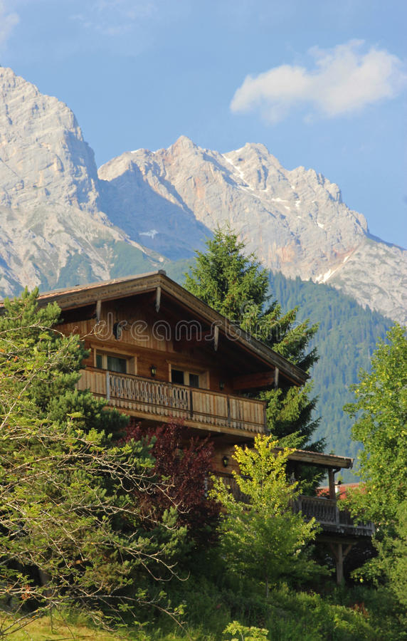 Wooden house in the Austrian mountains royalty free stock photos