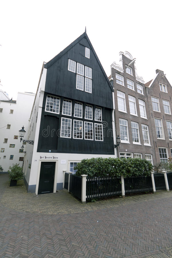 Wooden house in the begijnhof in Amsterdam stock photos