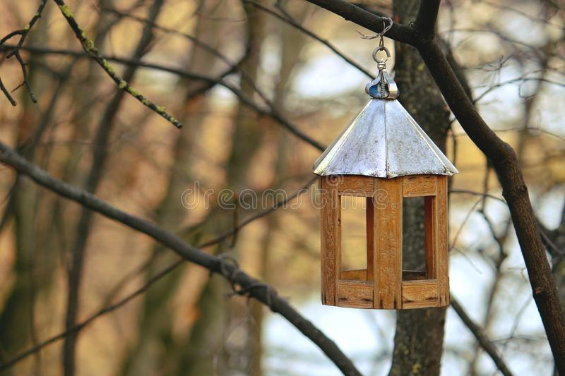 Wooden house for birds in the park season fall autumn birdhouse nature royalty free stock images