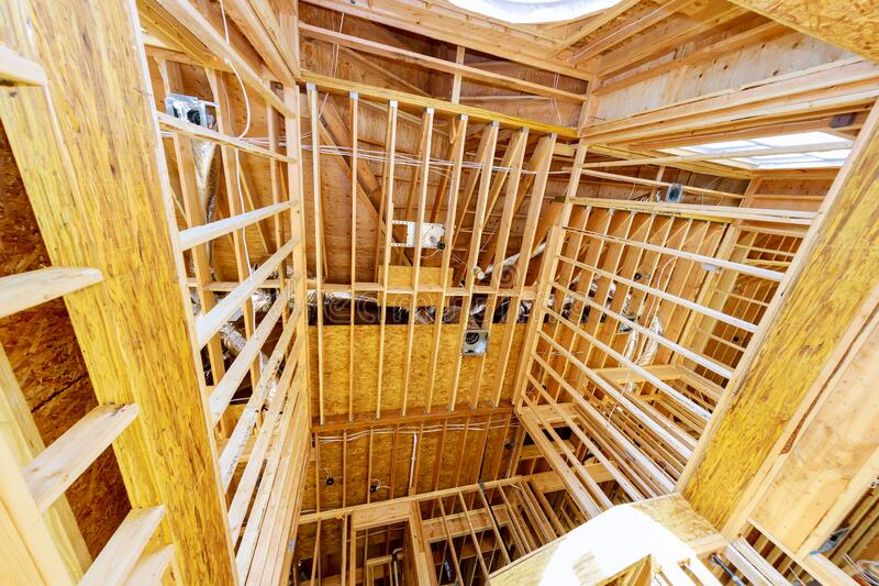 Wooden house construction home framing interior residential home. Wooden interior residential home beam house construction home framing stock images