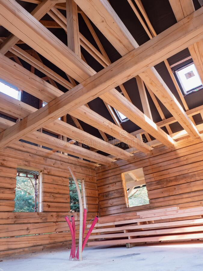Wooden house construction. Wooden Roof Frame stock photo