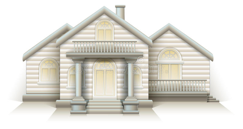 Wooden House Cottage layout vector House with front door columns and stairs. White background stock illustration