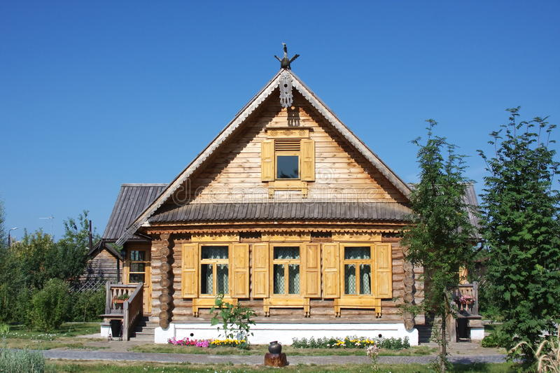 Wooden House With Decorative Elements Stock Photos