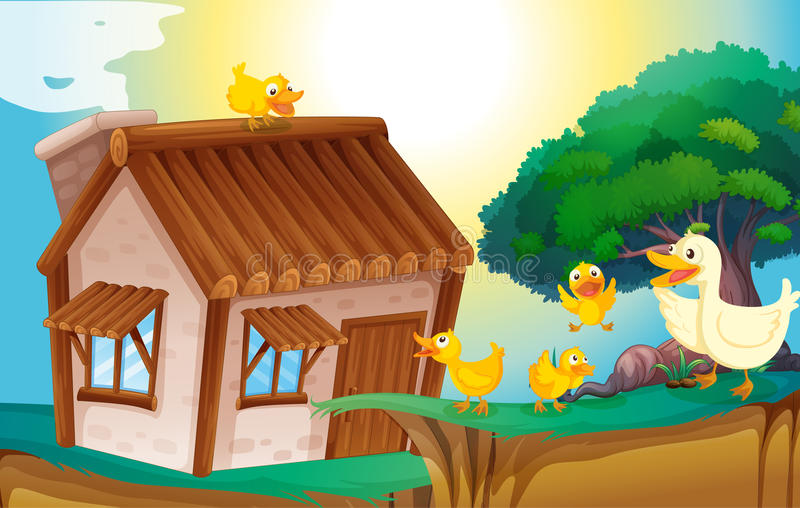 Wooden house and ducks vector illustration