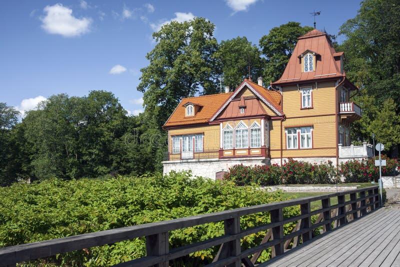 Wooden house in Estonia stock photo