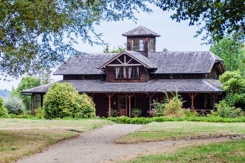 Wooden house in Frutillar village, Chi. Le royalty free stock images