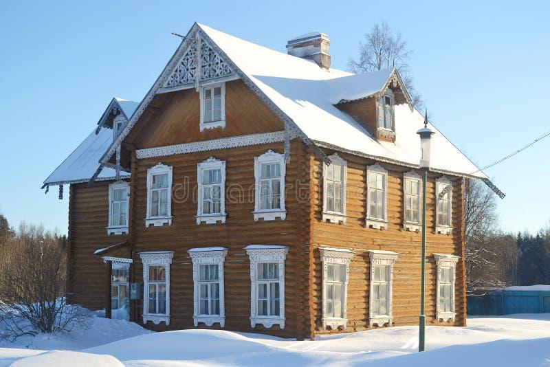 Wooden house in Oranienbaum royalty free stock photo