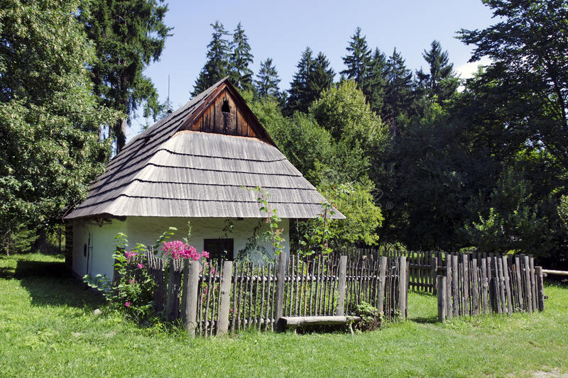 The wooden house from Oravian region stock photo