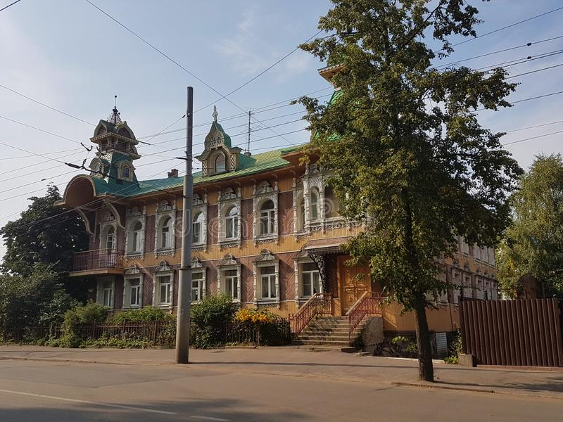 Wooden house Rybinsk landscape in the Russian province stock photos