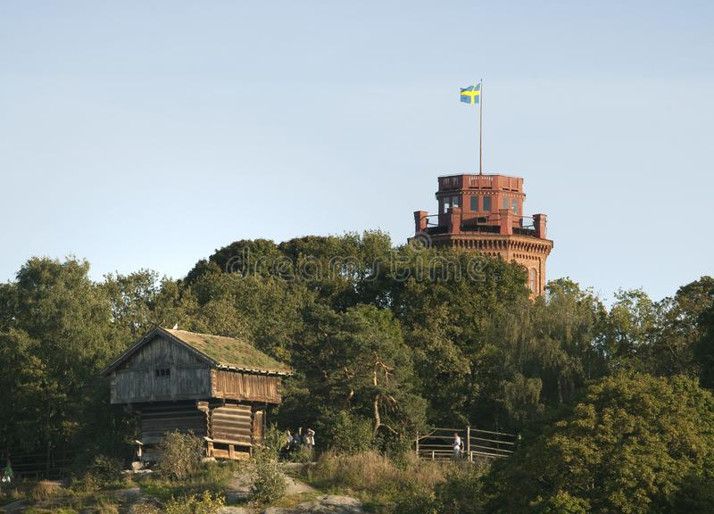 Wooden house at Skansen in Stockholm royalty free stock image