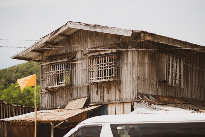 Wooden house with slats in slums. Palawan, Philippines stock photo