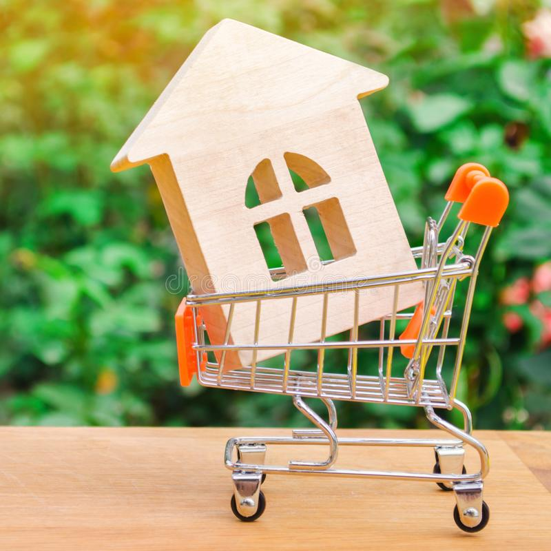 Wooden house in a Supermarket trolley. Property investment and mortgage financial concept. Buying, renting and selling apartments royalty free stock photos