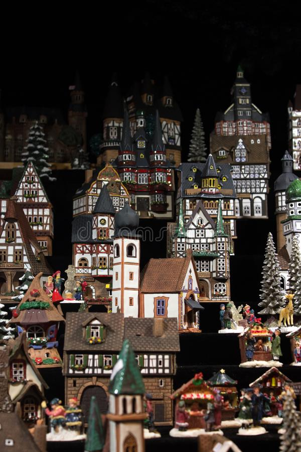 Wooden house toys on Christamas market in Berlin royalty free stock photo