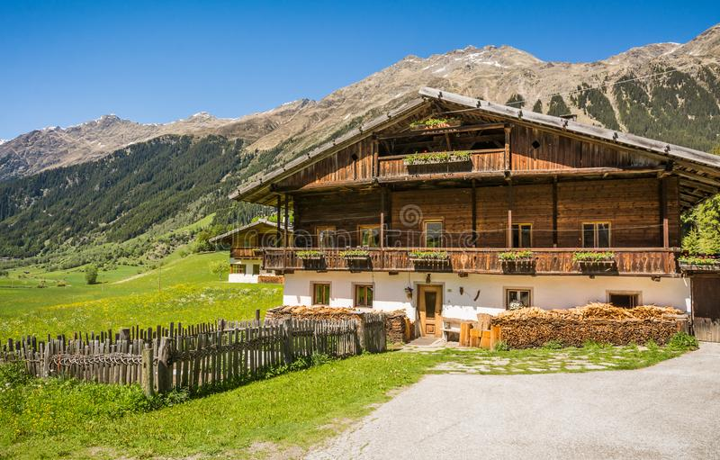 Wooden house typical in a alps village on Ridnaun Valley/Ridanna Valley - Racines country - near Sterzing/Vipiteno, South Tyrol, n. Orthern italy royalty free stock images