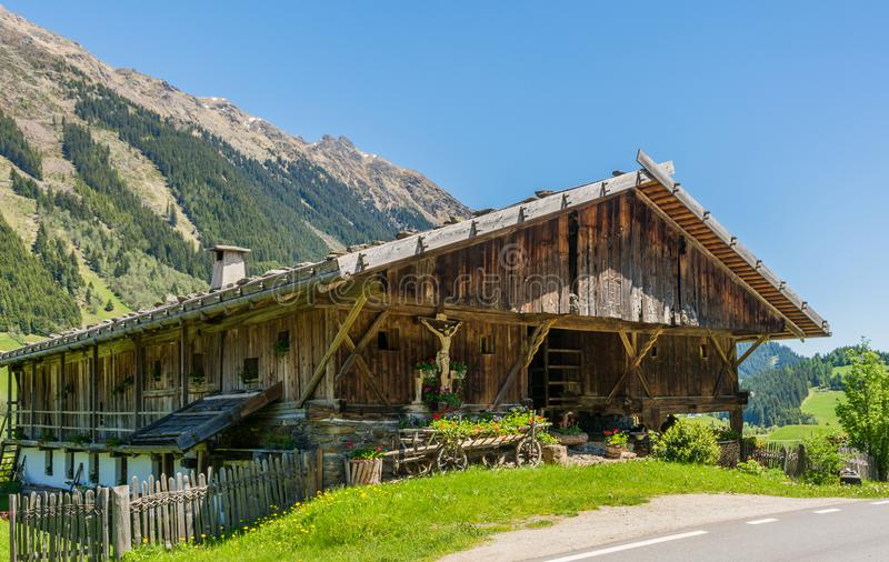 Wooden house typical in a alps village on Ridnaun Valley/Ridanna Valley - Racines country - near Sterzing/Vipiteno, South Tyrol, n. Orthern italy stock images