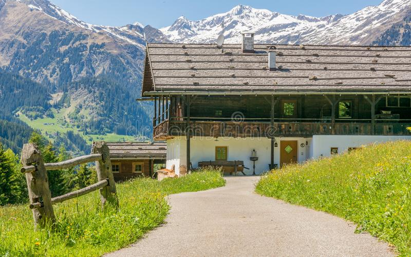 Wooden house typical in a alps village on Ridnaun Valley/Ridanna Valley - Racines country - near Sterzing/Vipiteno, South Tyrol, n. Orthern italy stock photos