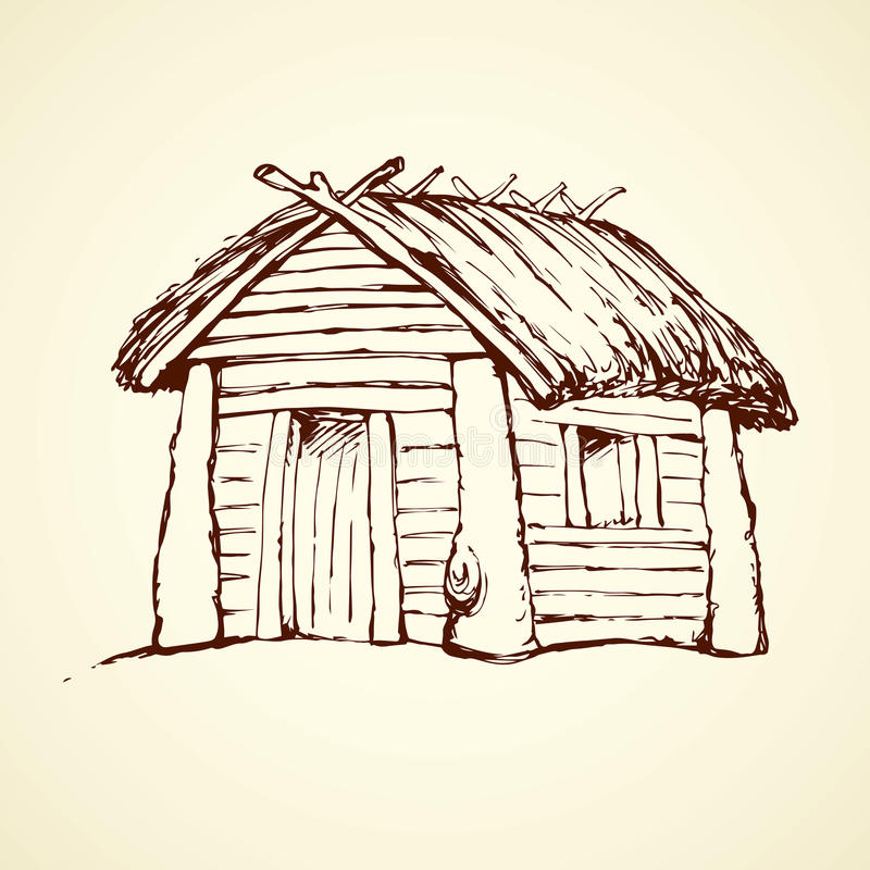 Free Wooden House. Vector Drawing Stock Images - 93149344