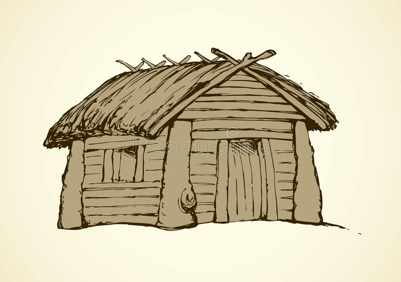 Download Wooden House. Vector Drawing Stock Vector   Illustration Of  History, Architecture: 95834182