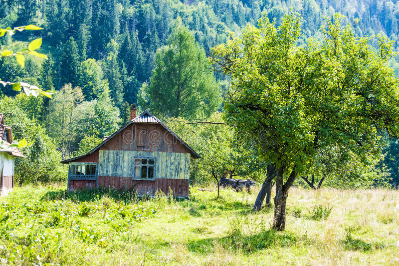 Wooden house with veranda royalty free stock photos
