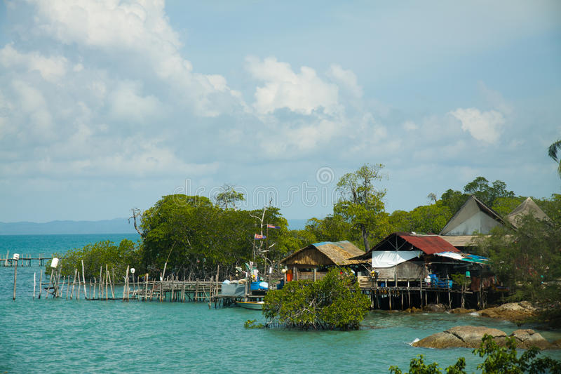 Wooden houses on piles pulau Sibu, Malaysia stock images