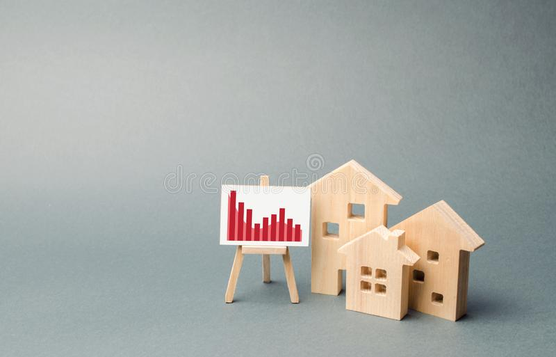 Wooden houses with a stand of graphics and information. concept of real estate value decrease. low liquidity and attractiveness. royalty free stock images