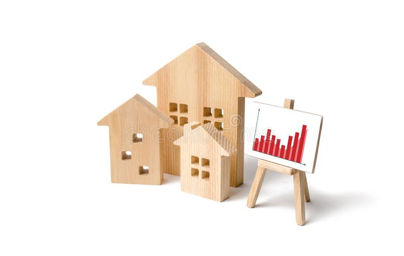Wooden houses with a stand of graphics and information. Growing demand for housing and real estate. growth of the city stock image