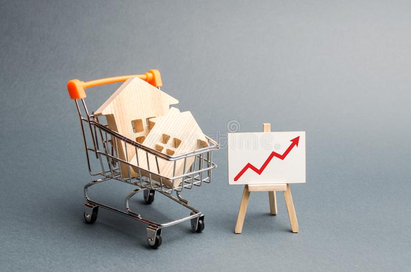 Wooden houses in a supermarket cart and red up arrow. Growing demand for housing and real estate. The growth of population. Investments. concept of rising stock images