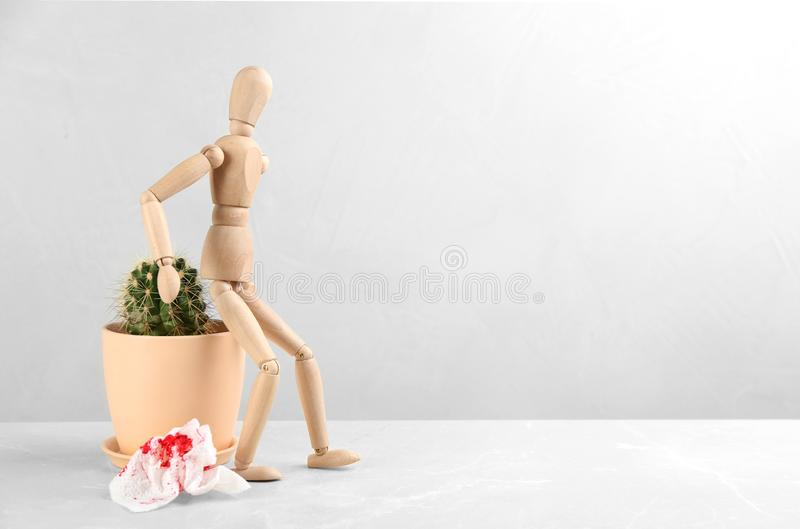 Wooden human figure, cactus and sheet of toilet paper with blood on table. Hemorrhoid problems royalty free stock images