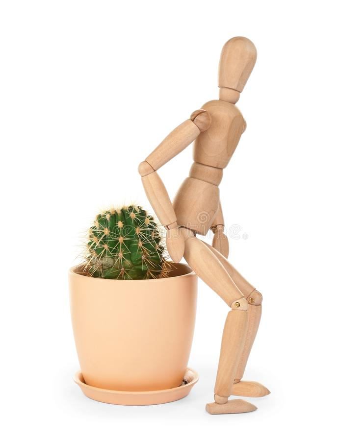 Wooden human figure and cactus on background. Hemorrhoid problems stock photo