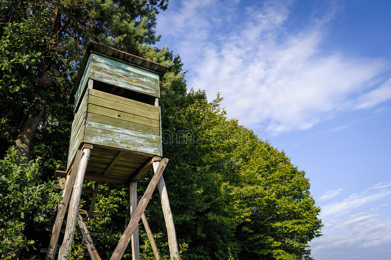 Wooden Hunting high tower. Hunters tower. stock photography