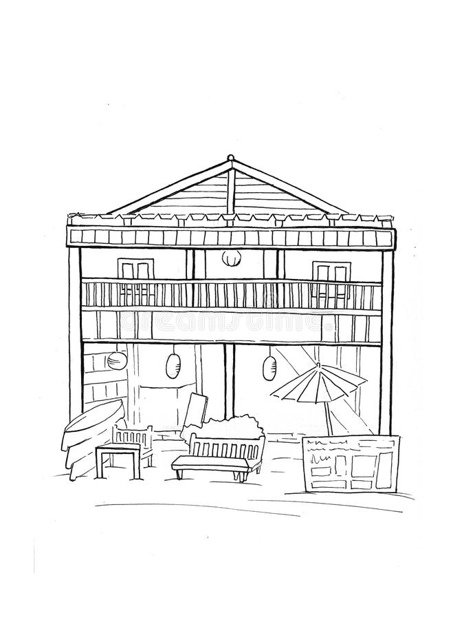 Wooden hut with cafe shop handdrawn sketch. Tropical island house architecture. Black white travel sketch. royalty free illustration