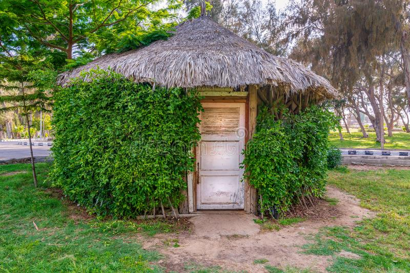 Wooden hut with closed wooden white grunge door surrounded by dense green plants at a public park stock photography
