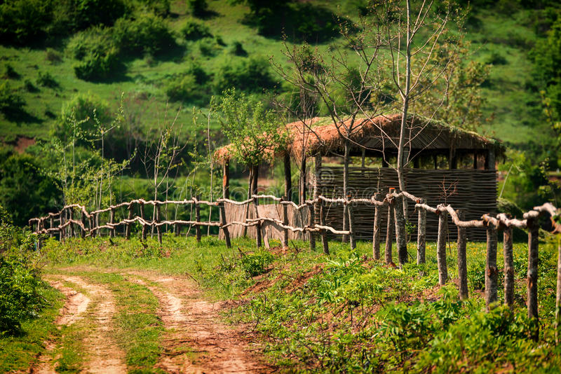 Wooden hut and fence royalty free stock photography