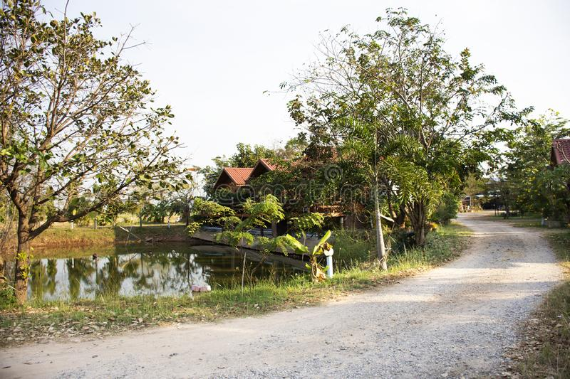 Wooden hut in garden of resort and homestay for thai people and foreigner travelers rent and rest in Chaiyaphum, Thailand. Wooden hut in garden of resort and stock image