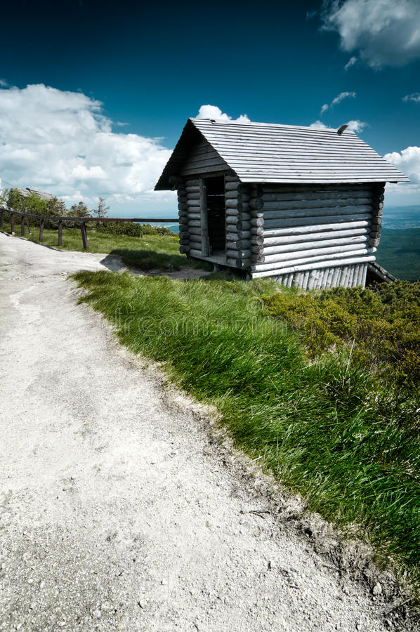 Download Wooden Hut stock photo. Image of field, road, karkonosze - 32174900