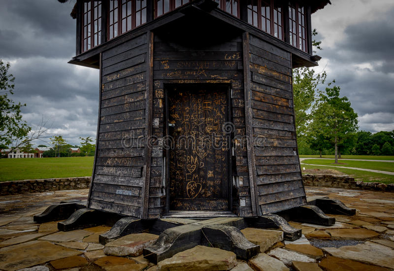 Wooden Hut in Park stock photo
