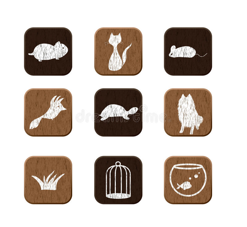 Free Wooden Icons Set Royalty Free Stock Images - 24047819
