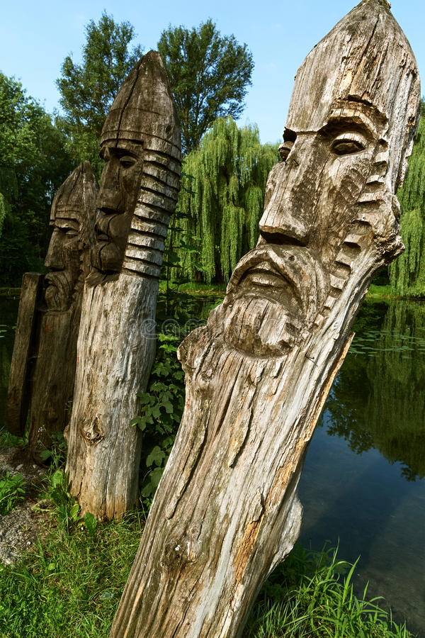 Wooden images. Of Slavic gods stock images