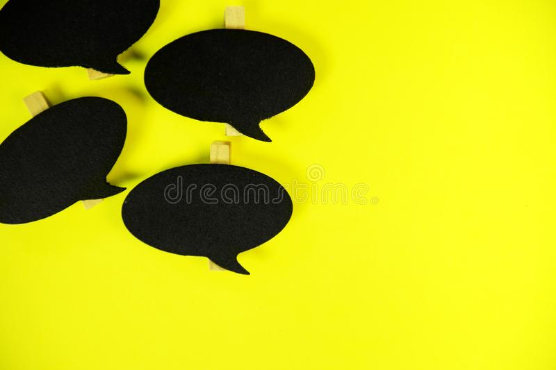 Wooden information label signs with black chalkboard empty place for text stock photos
