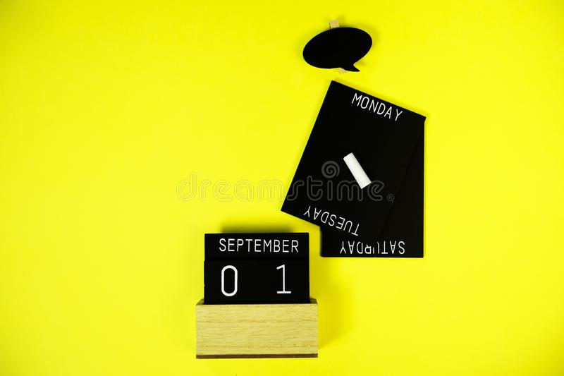 Wooden information label signs with black chalkboard empty place for text royalty free stock image