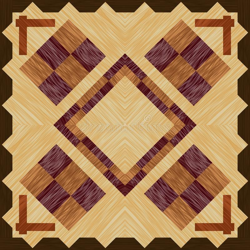 Wooden inlay with checkerboard elements on light wooden, square tile with wooden texture. Vector design royalty free illustration