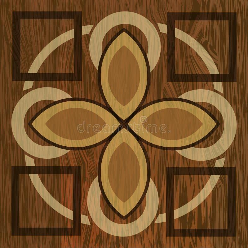 Wooden inlay, light and dark wood patterns. Wooden art decoration template. Veneer textured geometric elements vector illustration