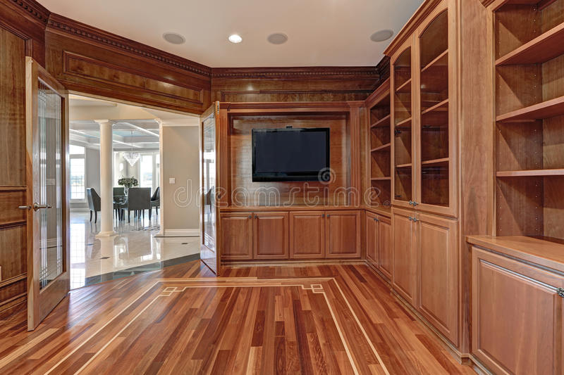 Wooden interior of empty room in luxury home royalty free stock photo