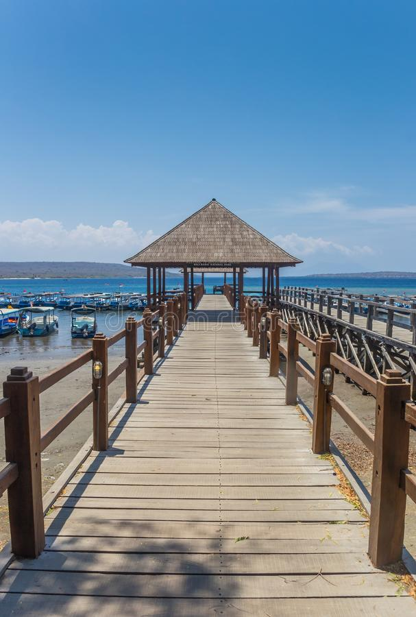 Wooden jetty at the Bali Barat National Park. Indonesia royalty free stock photography