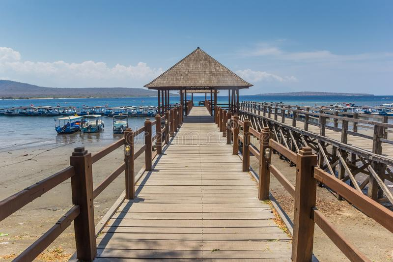 Wooden jetty at the Bali Barat National Park. Indonesia stock images