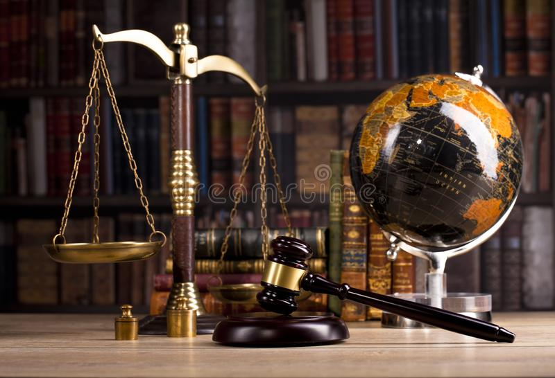 Wooden judge`s gavel. Law. Judge`s office. royalty free stock image