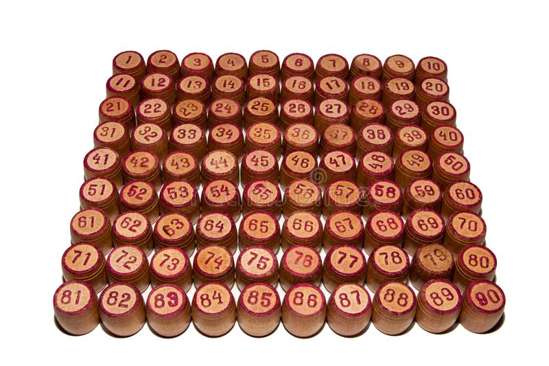 Wooden kegs for a game in a lotto with red numbers. Gambling. Vintage barrels Bingo Board game stock image